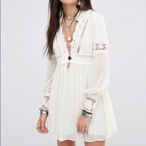 Free People In Dreamland Mini Dress in Ivory